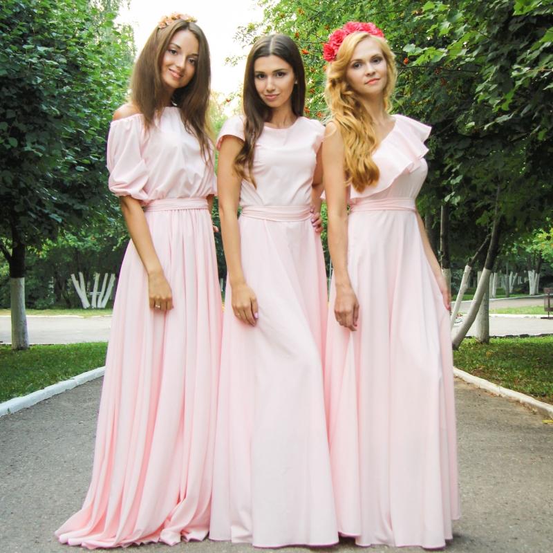 Платье подружек невесты нежно розовое