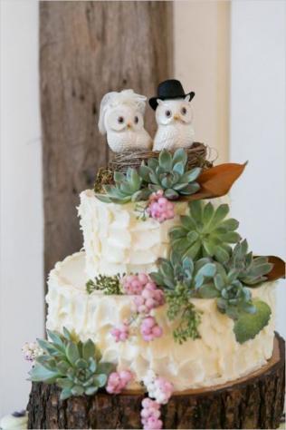 Торт свадебный с совами